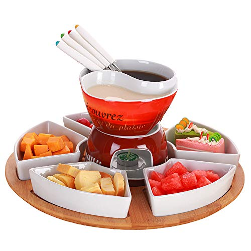 Keramische Chocolade Fondue Hot Pot Set Ice Cream Cheese met 4 roestvrijstalen vorken en keramische basis Grill Koreaanse Hot Pot Servies