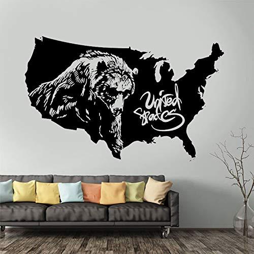 Europäischer Tierbär Amerikanischer Vinyl-Wandaufkleber Hauptdekoration Wohnzimmer Bürozimmer-Aufkleber abnehmbare Tapete Wandbild Wanddekoration A9 67x42cm