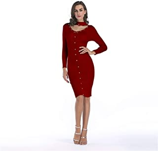 ZCLAU Women's Wool Knit Dress Rivets Decorative Collar Slim Pencil Skirt Girls Long Section (Color : Red, Size : XL)