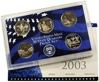 2003 S U.S. Mint Proof State Quarter Set - 5 Coins - OGP Original Government Packaging Superb Gem Uncirculated