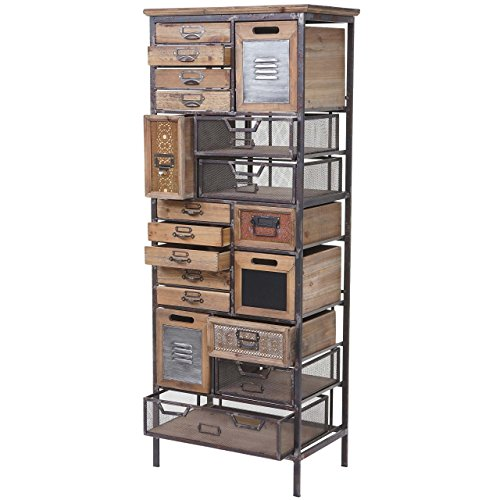 Mendler Apotheker-Schrank HWC-A43, Kommode, Tanne Holz massiv Vintage Shabby-Look 143x56x33cm