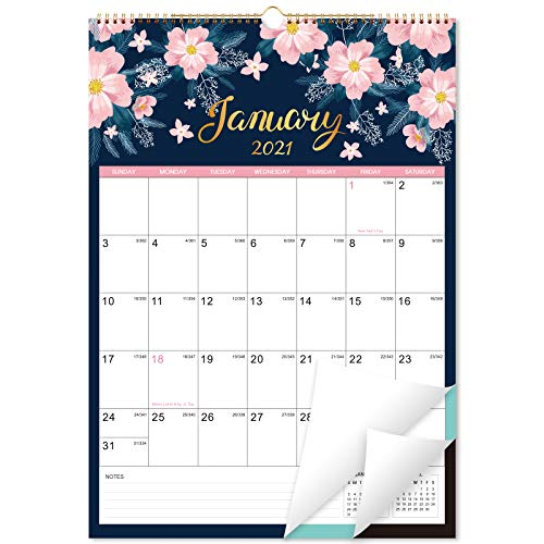"""2021-2022 Calendar - Monthly Wall Calendar Planner from Jan 2021 - Jun 2022, 12"""" x 17"""", Twin-Wire Binding, Large Blocks with Julian Dates, Perfect for Planning and Organizing Your Home and Office"""