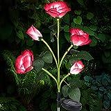 Luces Solares Exterior Jardín, Luces LED Decorativas Rosas Solares, IP65 Luz Solar Al Aire Libre Del Jardín para Exterior Solares, Jardín, Patio, Caminos (Rojo) [Clase de eficiencia energética A]