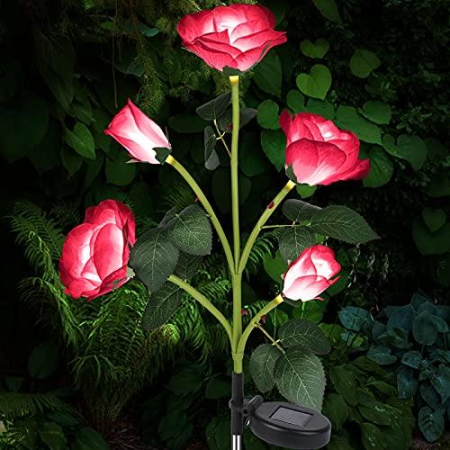 Luces Solares Exterior Jardín, Luces LED Decorativas Rosas Solares, IP65 Luz Solar Al Aire Libre Del Jardín para Exterior Solares, Jardín, Patio, Caminos (Rojo) [Clase de eficiencia energética A] ✅