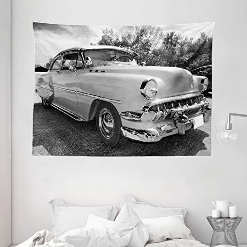 Ambesonne Vendimia Tapiz de Pared, Pin Encima del Estilo Coches Diseño, para el Dormitorio Apto Lavadora y Secadora Estampado Digital,...