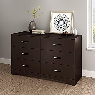 South Shore Step One 6-Drawer Double Dresser, Chocolate with Matte Nickel Handles