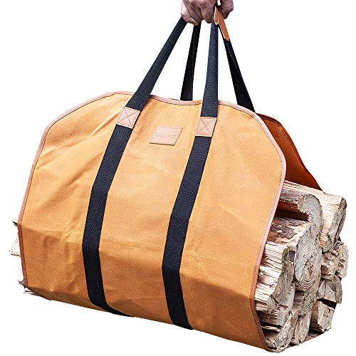 GALAFIRE Firewood Carrier Waxed Canvas 20 Oz Heavy Duty and Large Capacity Log Tote Bag for Wood Carrying 21#039#039 × 44#039#039