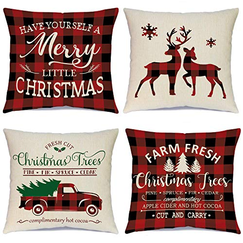 Ueerdand Christmas Pillow Covers 18×18 Inch Set of 4 Black and Red Farmhouse Buffalo Plaid Pillow Covers Rustic Linen Pillow Case for Sofa Couch Holiday Christmas Decorations Throw Pillow Covers