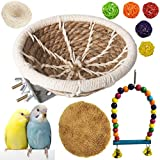 kathson Hemp Rope Bird Breeding Nest Bed Handmade Cotton Weave Hatching Hut Parakeet Cage Hatching Nesting Box Parrot Swing Toys for Small Cockatiel Canary Lovebird Conure