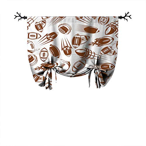 "Football The best home fashion thermal insulation Roman curtain Retro Comicbook Style Flying Spinning Balls Motion Trails Sports Competition Suitable for blackout curtains W48""xL64""Brown White"