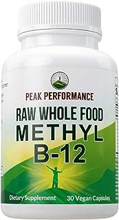 Raw Whole Food Vegan B12 Vitamin. Vitamin B12 Methylcobalamin - Methyl B-12 Supplement Plus 25+ Organic Fruit and Vegetabl...