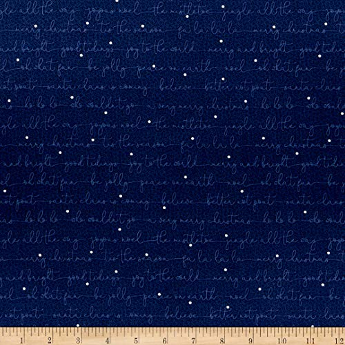 Benartex Better Not Pout Christmas Carols Navy Fabric by the Yard