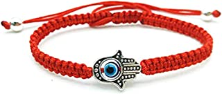 MENGLINA Unisex Handmade Braided Rope Lucky Red String Bracelet Hamsa Evil Eye Charm Bracelet for Women Peaceful Adjustabl...