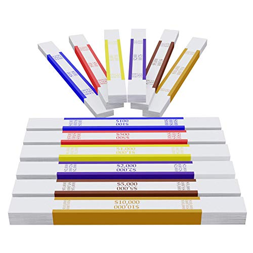 Money Bands Currency Straps- 600 Pieces Self Adhesive Color Coded Money Wrappers for Bills $100, 500, 1000, 2000, 5000 and $10,000