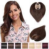 Hair Topper Donna Extension Capelli Veri Clip Silk Base Toupet Capelli Donna Veri Remy Human Hair Lisci Naturali, 25cm 4# Marrone Cioccolato