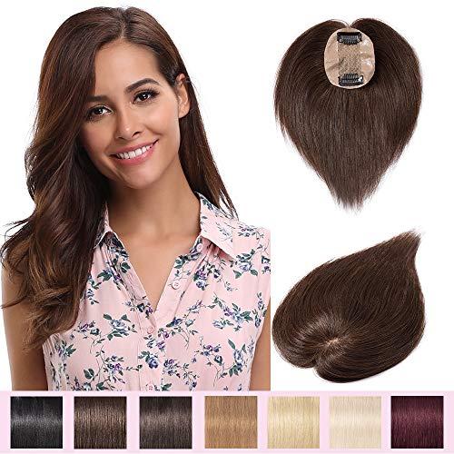 Extension a Clip Cheveux Naturel Volumateur Femme Complément Capillaire Topper Postiche Perruque Femme - 100% Cheveux Humain (#04 Châtain, 12 Pouces/30cm)