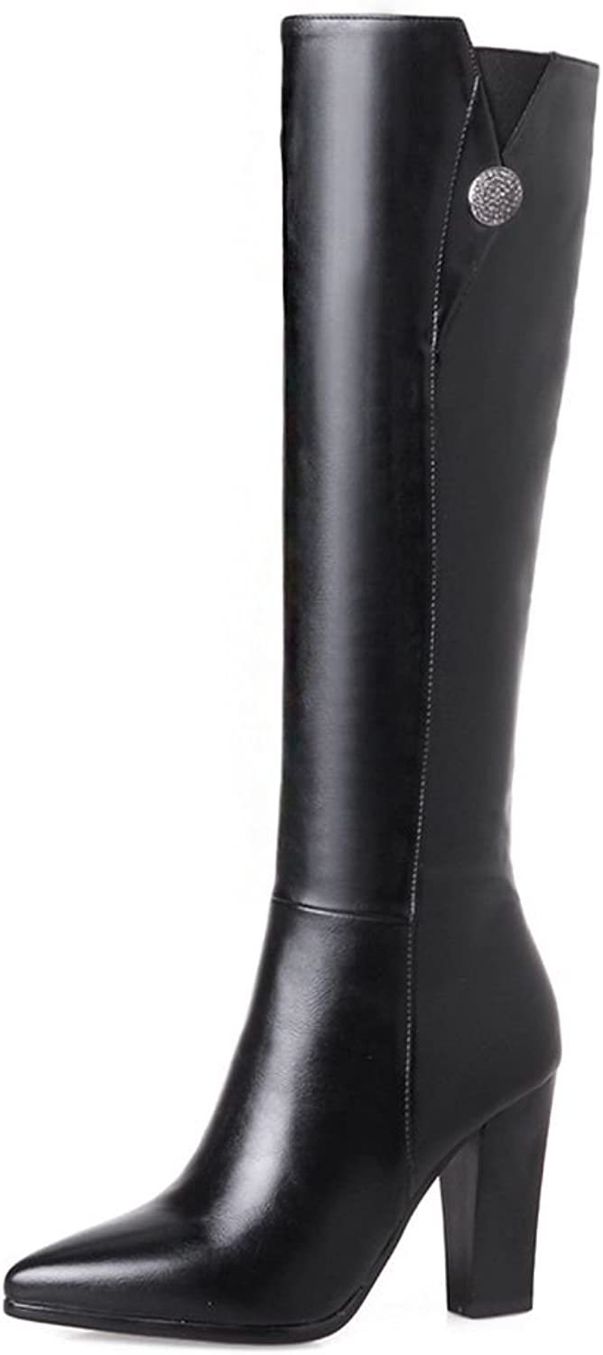KingRover Women's Pointed Toe Chunky Heel Side Zip PU Leather Black Knee Boots