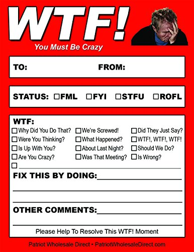 WTF! You Must Be Crazy Notepads - 50 Notes Per Pad