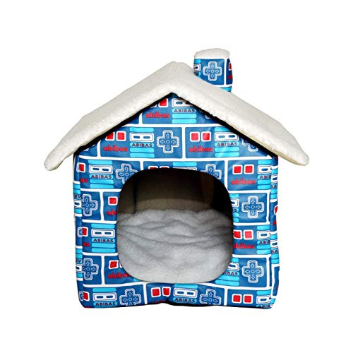 GAOZHEN Casa para Mascotas con Chimenea, casa para Mascotas al Aire Libre, Tienda de campaña Plegable Impermeable para Mascotas Engrosada, Refugio para Gatos de Lana de Cordero cálida, Nido Suave pa