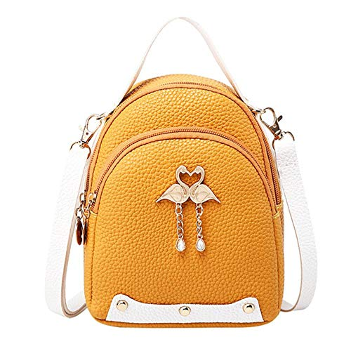 JNML Mini-rugzakken voor meisjes Kleine rugzak DamesEffen kleur Leer Kleine zwaan Rugzak Schoudertas, geel