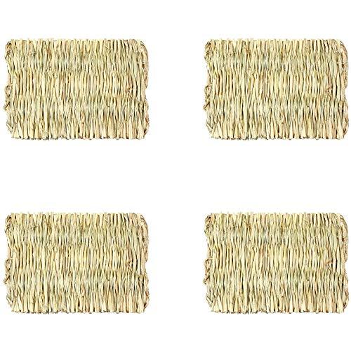 Heyb - Alfombra de paja tejida con forma de conejo de la India, mi vecino escurredor, hámster, gato y perro pequeño, colchón de 4 piezas