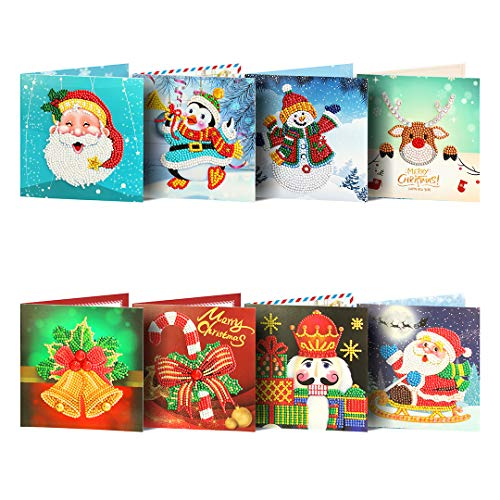 Treat Me Christmas Cards 5D DIY Diamond Painting Round Drill Greeting Thank You Cards Creative 8 Packs