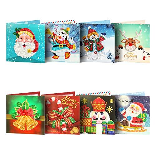 8Packs Diamond Painting Christmas Cards by Numbers Christmas Tree Santa Claus New Year Greeting Card Christmas Stickers Christmas Gifts (Cards03)