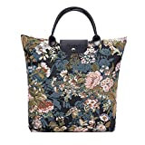 Signare Tapestry Foldable Tote Bag Reusable Shopping Bag Grocery Bag with Peony Flower in Black Background (FDAW-PEO)