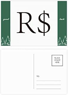 DIYthinker Currency Symbol Brazilian Real Good Luck Postcard Set Card Mailing Side 20Pcs 5.7 inch x 3.8 inch MultiColor
