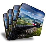 Destination Vinyl ltd Great Posavasos (juego de 4) cuadrados – Mount Snowdon tren de Gales bebida brillante posavasos / protección de mesa para cualquier tipo de mesa #16567