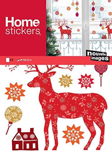 DraEGER Paris 170.001884.05 - Pegatinas de ciervo, copos de nieve, bolas de Navidad, polivinilo, multicolor, 36 x 24 x 0,02 cm