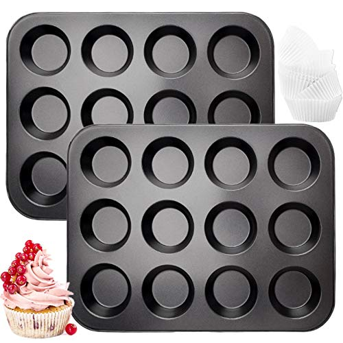 Muffin Pan 2 Pack, JOERSH 12-Cup Mini Muffin Pan Mini Cupcake Pan, Heavy Duty Carbon Steel Muffin Tin for Oven Baking