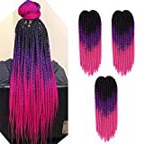 Passion Twist Hair 5 Packs 22 inch Ombre Color Spring Twist crochet braiding hair Jamaican Bounce Synthetic Hair Extensions Water Wave 12 Roots/Pack (black-purple-rose)