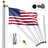 20FT Sectional Flag Pole Kit, Extra Thick Heavy Duty Aluminum Flagpole Rope and Clips Kit Fly 2 Flags, Outdoor Inground...