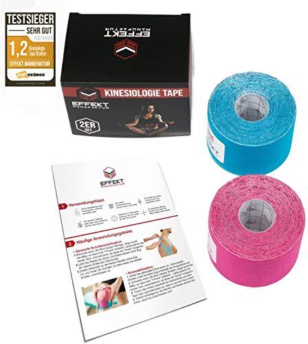 Effekt Manufaktur Kinesiologie Tape in verschiedenen Farben (5m x 5cm) – Kinesiotapes wasserfest und elastisch Sport – Physiotape Kinesiotape Set Sporttape – Tape Kinesio (Hellblau + Pink, 2er Set) - 3