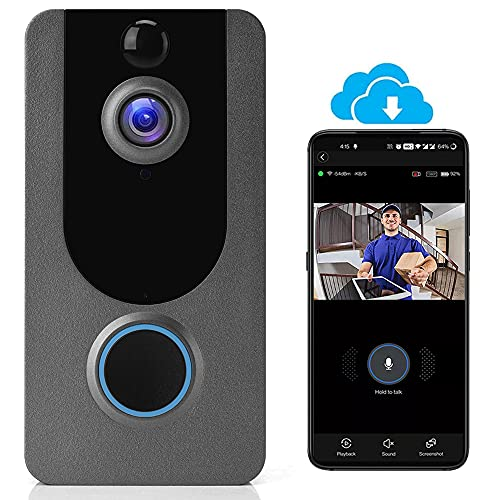 Wireless Video Doorbell Camera, WiFi Doorbell Camera IP65 Outdoor Waterproof 1080P HD WiFi Night Vision Sports Storage Free Cloud Storage for iOS & Android