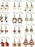 Comjunto de 12 Pares Pendientes de Colgante de Gota de Navidad Incluye Pendientes de Arbol de Navidad Pendientes de Joya Santa Pendientes de Figura de Nieve Copo de Nieve
