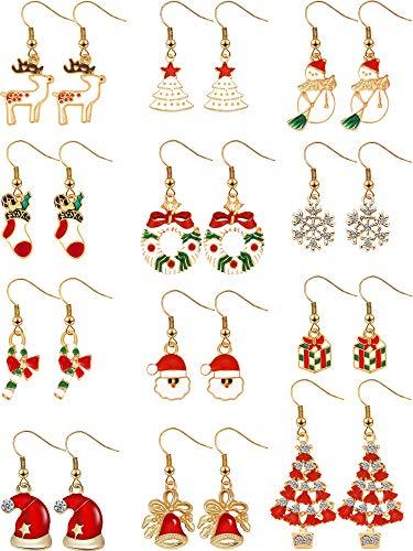 12 Paires Boucles d'Oreilles Pendantes de Goutte de Noël Ensemble de Boucles d'Oreilles de Bijoux de Noël pour Femmes Filles