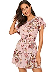Fabric: No stretch, breathable, lightweight, soft and comfy Design: Floral print, belted, round neck and petal short sleeve for women Occasion: Suit for party, cocktail, vacation, beach, go out wearing and casual wear, fit for summer Style: Elegant, ...