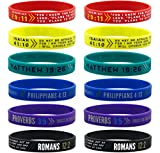 (12-pack) Colorful Bible Wristbands - Wholesale Pack of...
