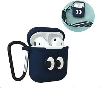 AirPods用シリコンケース iPhone ワイヤレスイヤホンシリコンケース, Apple AirPods充電ケース,ギフト無料 - リストストラップ[防塵栓] [完全保護] [携帯に便利](青-eye)