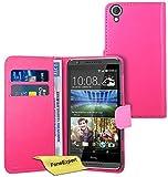 FoneExpert® Wallet Hülle Flip Cover Hüllen Etui Ledertasche Lederhülle Premium Schutzhülle für HTC Desire 820 + Bildschirmschutzfolie (Rosa)