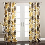 Lush Decor Room Darkening Window Curtain Panel Pair Leah Floral Insulated Grommet, 84' L, Yellow and Gray