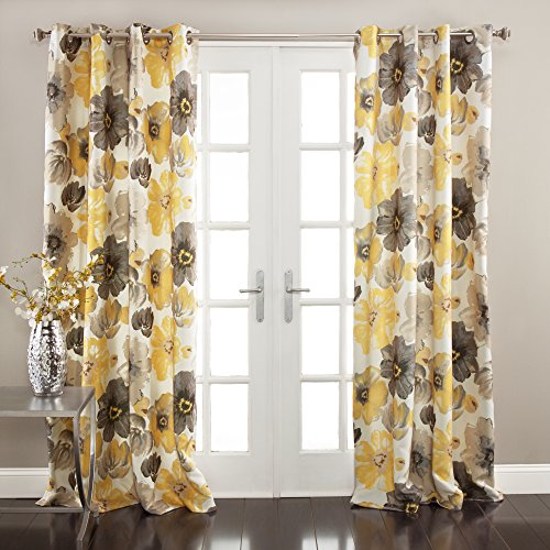 """Lush Decor Room Darkening Window Curtain Panel Pair Leah Floral Insulated Grommet, 84"""" L, Yellow and Gray"""