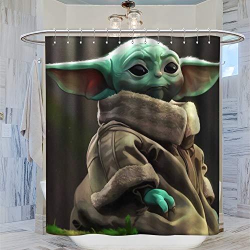 SSKJTC Decoración de invierno para el hogar, regalos de Star Wars The Mandalorian Cute Baby Yoda, cortina de baño de 183 x 183 cm