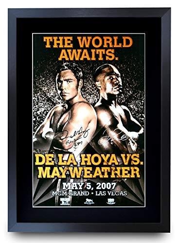 HWC Trading Foto firmada de Oscar de La Hoya vs. Floyd Mayweather Jr. de la Lucha de Oscar...
