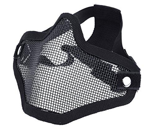 DCCN Airsoft Maske Taktische Gesichtsmaske Tactical Metal Mesh Maske Paintball Gesichtsschutz Schwarz