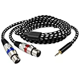 10FT Dual XLR Female to 3.5mm 1/8 Stereo Mic Cable, Mugteeve 2 XLR Y Splitter Cord to 1/8 Inch Mini Headphone Jack TRS Adapter,OFC Shield, for Mixer and PC Connection, Livestream, Broadcast