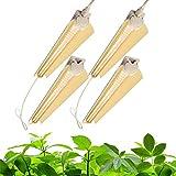 Barrina Grow Light Bulb, 96W(4 x 24W, 600W Equivalent), Full Spectrum 2FT LED Grow Light, 2-Row V-Shape T8 Integrated LED Grow Light Strips, Plant Lights for Indoor Plants, 4-Pack