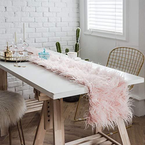 SWECOMZE Camino de mesa de pelo sintético en felpa, para decoración romántica de bodas, cumpleaños, fiestas, mesas de café (rosa, 30 x 220 cm)